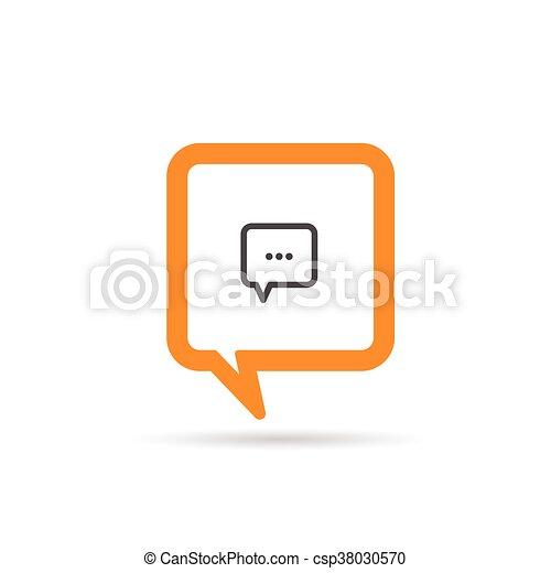 square orange speech bubble icon illustration - csp38030570
