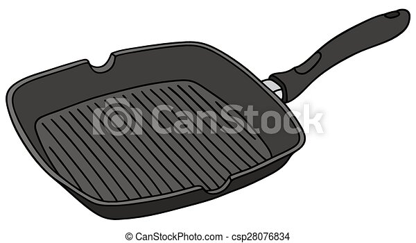 square pan hand drawing of a black square pan rh canstockphoto com Batter in Pan Batter in Pan