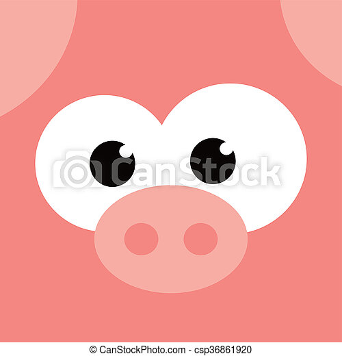square pig face icon button - csp36861920