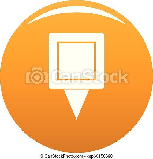 Square pin icon vector orange - csp60150690