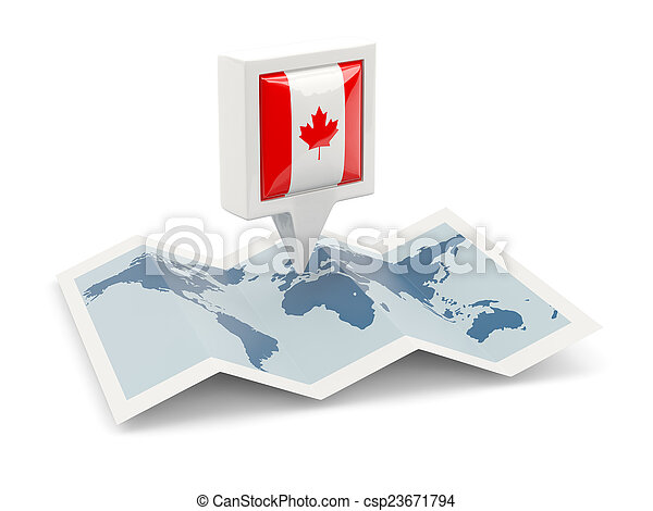 Square pin with flag of canada on the map - csp23671794