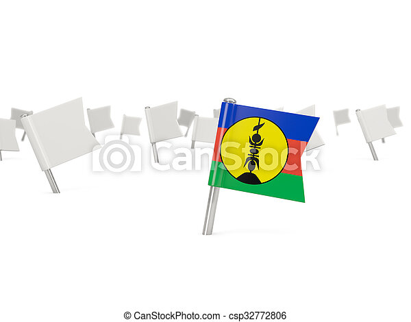 Square pin with flag of new caledonia - csp32772806