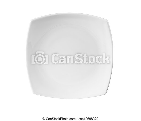 square plate isolated on white included - csp12698379