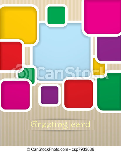 Square postcard vector illustration - csp7933636