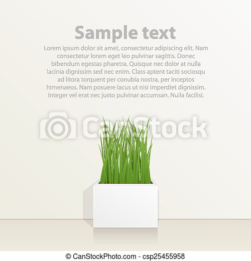 Square pot with grass against the wall - csp25455958
