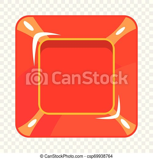 Square red button icon, cartoon style - csp69938764
