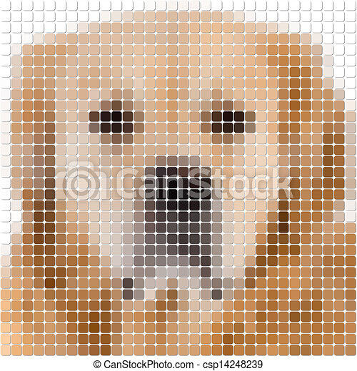 Square Rounded Pixel Image Of A Dog