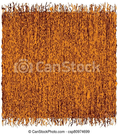 Square rustic grunge striped weave mat with fringe in orange,  brown colors isolated on white background - csp80974699