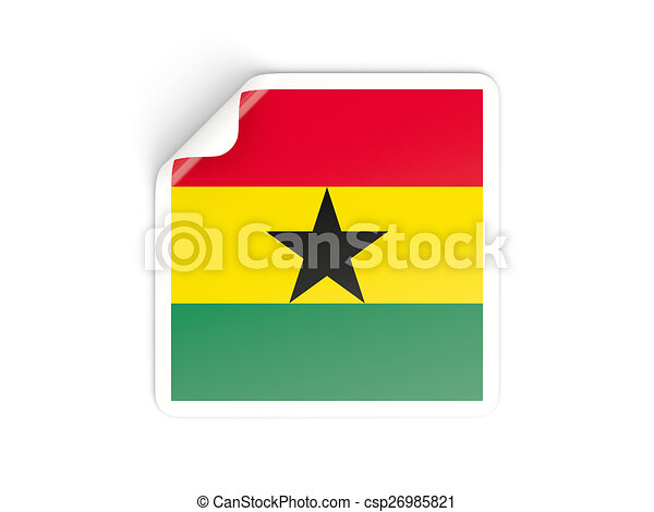Square sticker with flag of ghana csp26985821