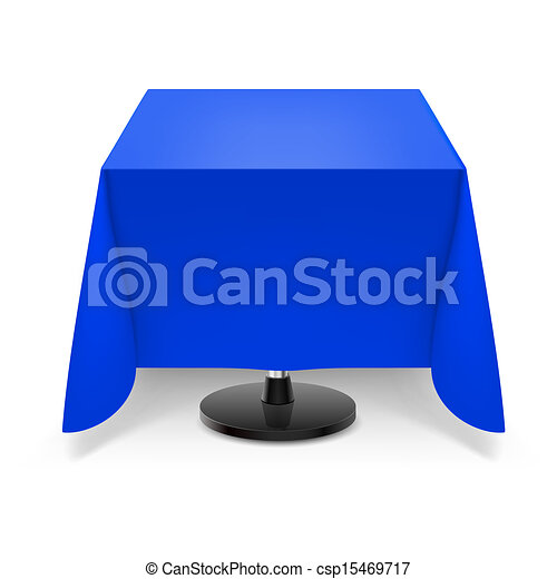 Superbe Square Table With Blue Tablecloth.   Csp15469717