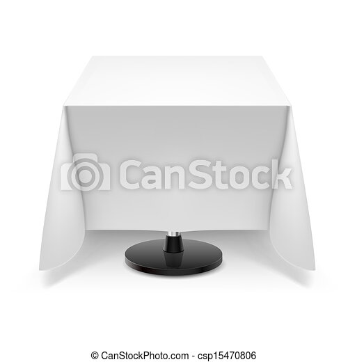 Square table with white tablecloth. - csp15470806