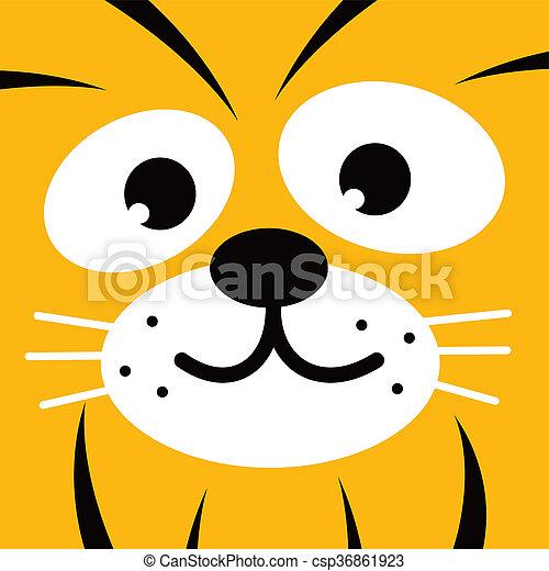 square tiger face icon button - csp36861923