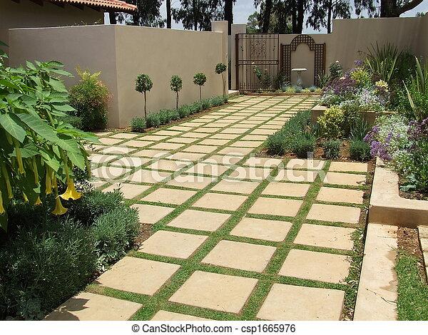 square tiles in the garden csp1665976 - Garden Tiles