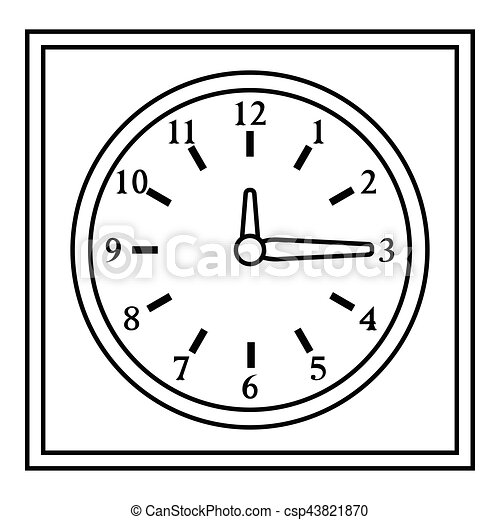 Square wall clock icon outline style Square wall clock icon