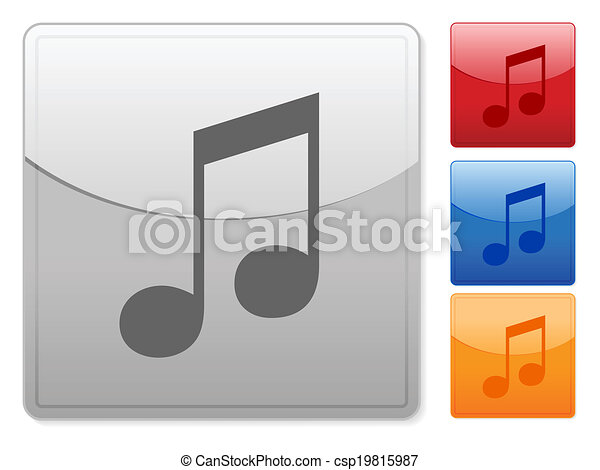 square web buttons music note - csp19815987