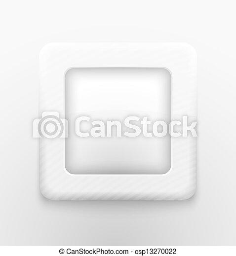 Square white button - csp13270022