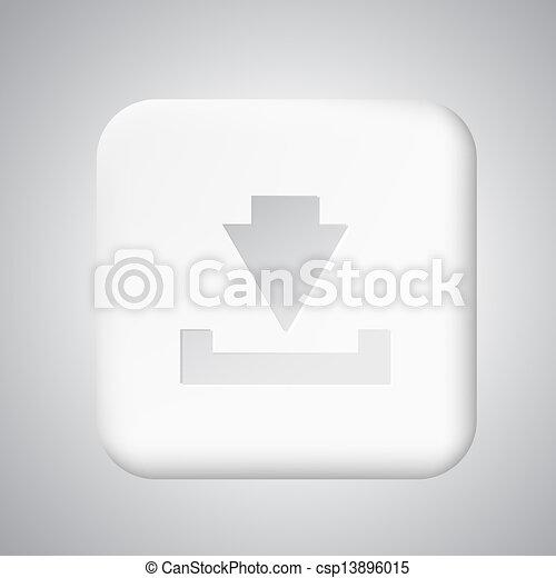 Square white plastic download button - csp13896015