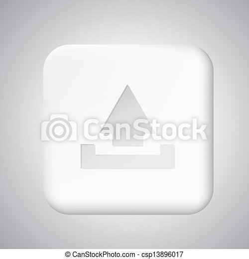 Square white plastic upload button - csp13896017