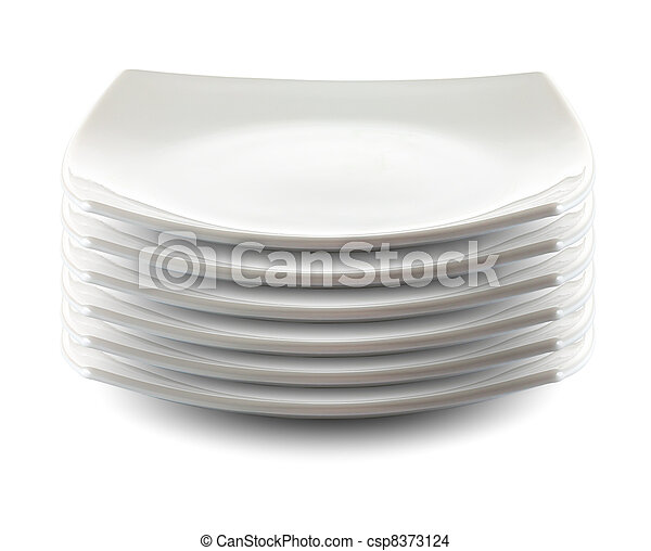 square white plates stack isolated - csp8373124