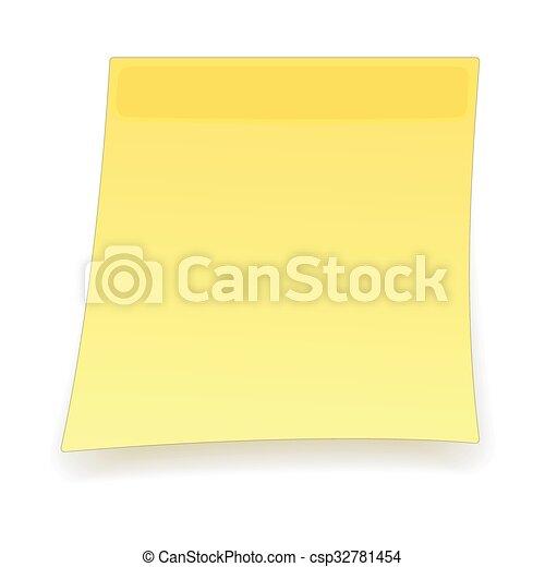 Square yellow sticker cartoon icon - csp32781454