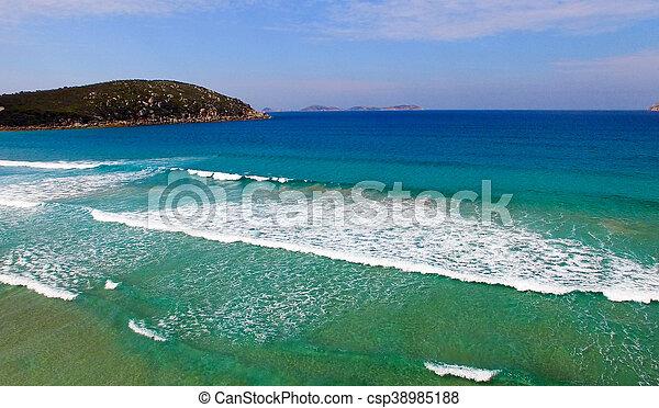 squeaky, promontorio, vista, wilsons, aéreo, playa - csp38985188