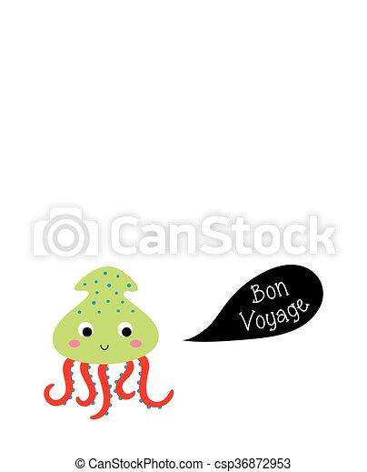 Squid bon voyage card cute squid bon voyage greeting card squid bon voyage card csp36872953 m4hsunfo