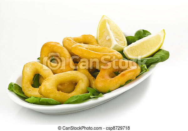 squid rings on plate with salad - csp8729718