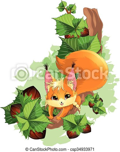 squirrel on a tree with nuts - csp34933971