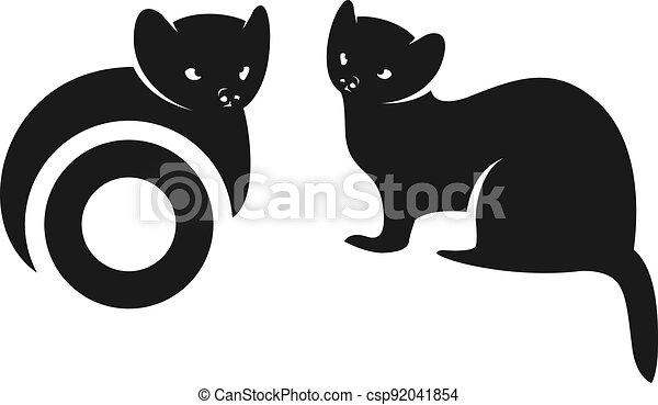 Squirrel silhouette animal logo design - csp92041854