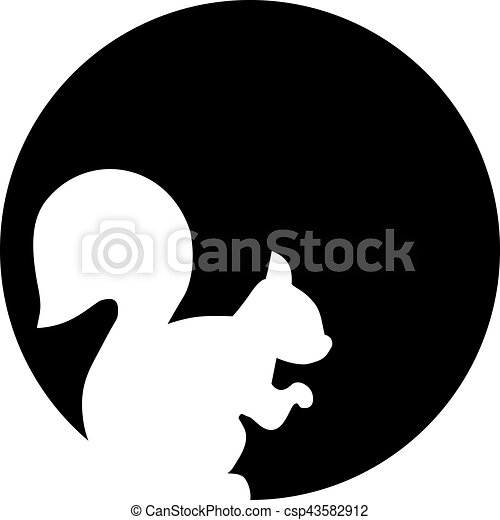 Squirrel silhouette in front of the moon - csp43582912