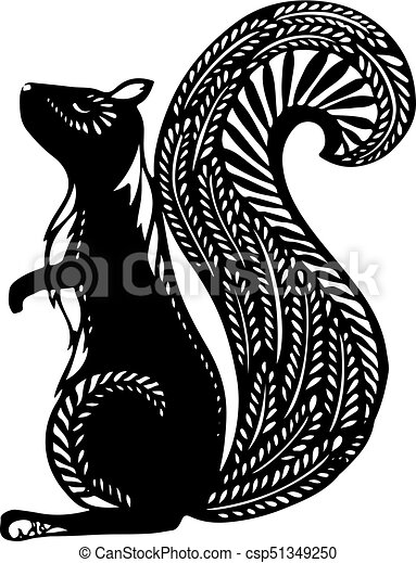 Squirrel With ethnic patterns, black silhouette on a white background. - csp51349250