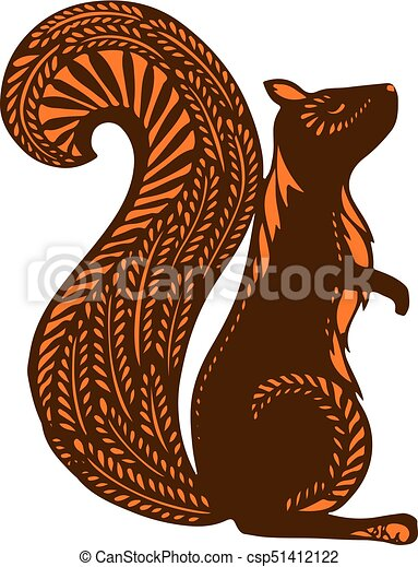 Squirrel with ethnic patterns, brown silhouette on a white background. The cartoon - csp51412122