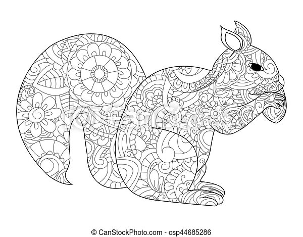 Squirrel With Nut Coloring Vector For Adults