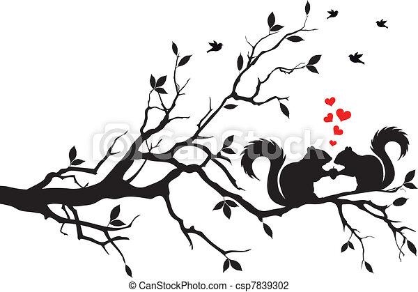 squirrels on tree - csp7839302