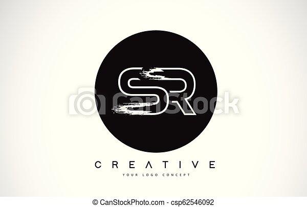 Sr Modern Leter Logo Design With Black And White Monogram Creative Letter Logo Brush Monogram Sr Modern Leter Logo Design