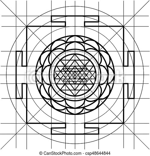Sree yantra. sacred geometry coloring book. Yantra - cosmic... eps ...