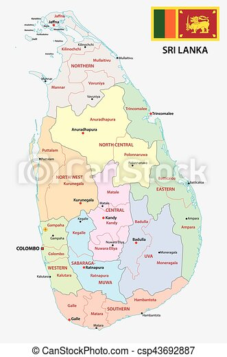 Sri Lanka Political Map.Sri Lanka Administrative Map With Flag Sri Lanka Administrative And