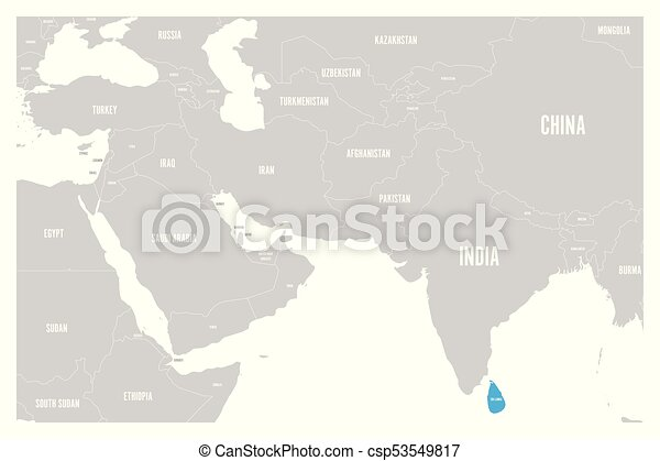 Sri Lanka Political Map.Sri Lanka Blue Marked In Political Map Of South Asia And Middle East