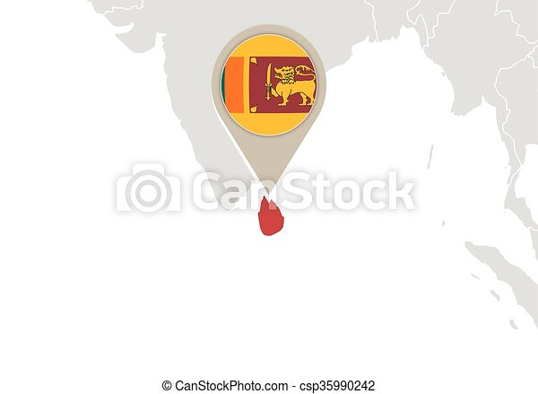 Sri Lanka On World Map Map With Highlighted Sri Lanka Map And Flag