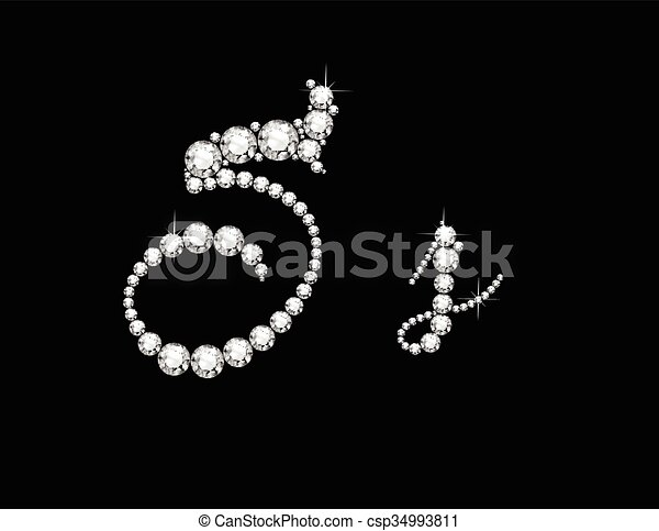 Ss Diamond Script Jeweled Font - csp34993811