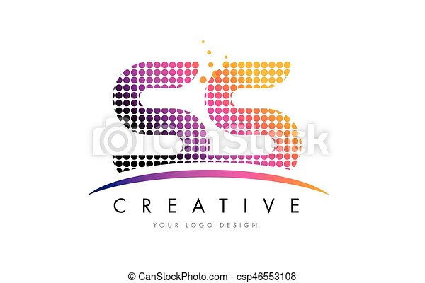 ss s s letter logo design with magenta dots and swoosh ss s s dots