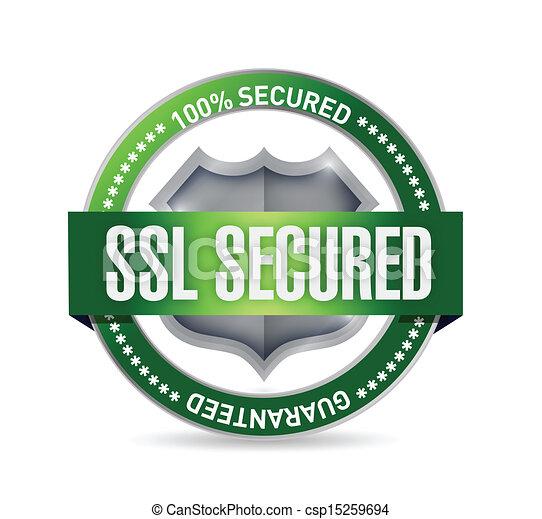 ssl secured seal or shield illustration design - csp15259694