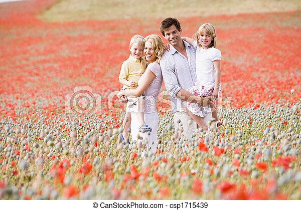 stálý, bojiště, usmívaní, rodina, mák - csp1715439