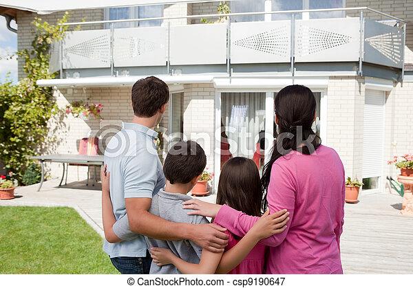 stálý, rodina, mládě, jejich, čelo, domů, sen - csp9190647