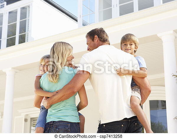 stálý, rodina, mládě, mimo, domů, sen - csp7413258