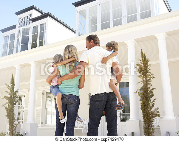stálý, rodina, mládě, mimo, domů, sen - csp7429470