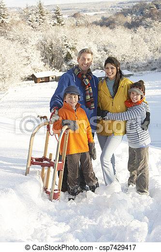stálý, rodina, sněžný, sáně, mládě, majetek, krajina - csp7429417