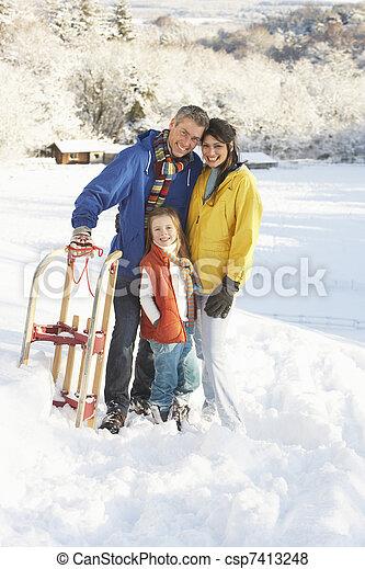 stálý, rodina, sněžný, sáně, mládě, majetek, krajina - csp7413248