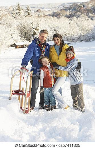 stálý, rodina, sněžný, sáně, mládě, majetek, krajina - csp7411325