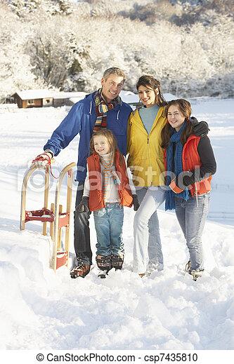 stálý, rodina, sněžný, sáně, mládě, majetek, krajina - csp7435810